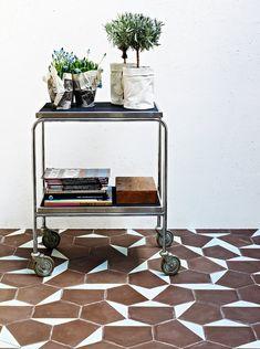 tile, cart, plants, books