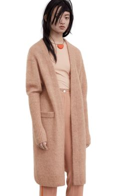 Acne Studios Raya Mohair camel beige is a fully fashioned, kimono sleeve, fluffy compact mohair cardigan sweater. Camel, Sweater Cardigan, Kimono, Beige, Knitting, Sleeves, Sweaters, How To Wear, Minimal