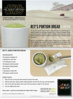 Star Wars Rey's Portion Bread Recipe - Microwaveable Mug Cake