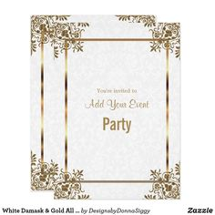 White Damask & Gold All Occasion Party Invitation