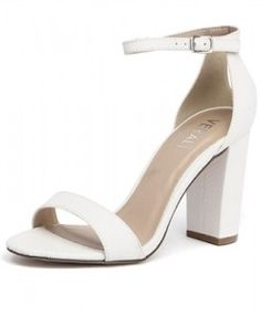 10fbf1bc9a7 Comfortable and and elegant white wedding shoes with block heel and ankle  strap from Weddingbuzz