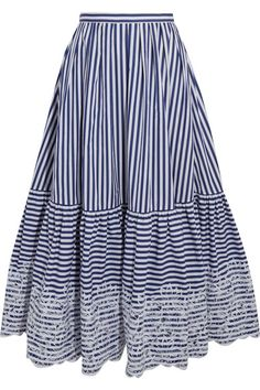 Designer Clothes, Shoes & Bags for Women Navy Pleated Skirt, Stripe Skirt, Long Skirt Outfits, Modest Outfits, Calf Length Skirts, Dress Skirt, Fashion Dresses, Midi Skirts, Blue Skirts
