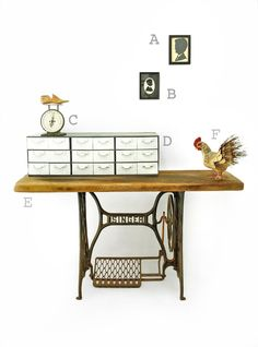 Antique Singer sewing machine table (turned desk) at Dear Rivington, NYC  Shop our #FleaMarket for your own #vintage #decor and more