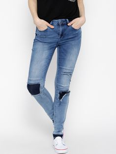 Vero Moda Blue Washed Distressed Jeans @looksgud  #Blue, #Ripped, #VeroModa