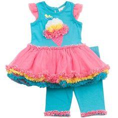 Rare Editions Ice Cream Cone Tutu Dress and Capri Leggings Set - Toddler