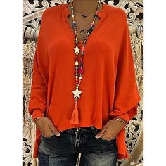 Solid V Neck Long Sleeves Casual Blouses fashion Dresses by Occasions Kleider nach Anlässen - Accessories of Women Punk Outfits, Girly Outfits, Trendy Outfits, Office Outfits, Modest Outfits, Athleisure Trend, Fall Fashion Trends, Autumn Fashion, Fashion Black