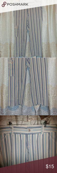 PLUS SIZE! IZOD Striped Cropped Pants EUC! Smoke free home. Izod Pants Ankle & Cropped
