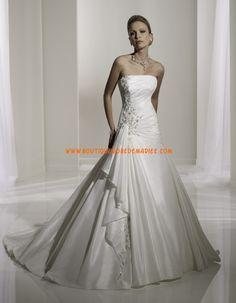 Robe de mariée A-line en satin sans bretelle