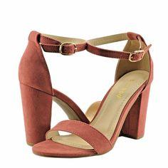 Women's Shoes Bamboo Rampage-04S Single Band Chunky Heel Sandal Dark Mauve