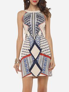 Printed Charming Round Neck Bodycon-Dress