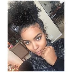 pinterest: @omgxnai ♔   curly hair.   Pinterest   Buns and Hair ❤ liked on Polyvore featuring beauty products, haircare, hair styling tools and curly hair care