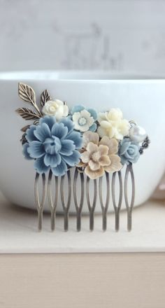 Dusty Blue Flower, Brown Sakura, Ivory Bouquet, Pearl, Shabby Flower Collage Hair Comb. Bridesmaids Hair comb, Bride Wedding Comb. Country. https://www.etsy.com/listing/122839789/dusty-blue-flower-brown-sakura-ivory?ref=shop_home_active_2&ga_search_query=blue%2Bcomb