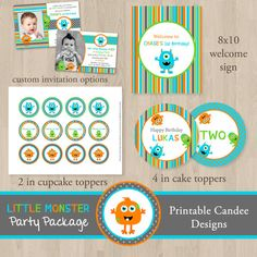 Austin's birthday theme!   DIY Little Monster Birthday Party Package  by printablecandee, $30.00