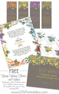 Free Young Women printables. Bookmarks, value circles, individual values, and 3 different theme layouts! I love the vintage look! These would be great to hand out at New Beginnings.