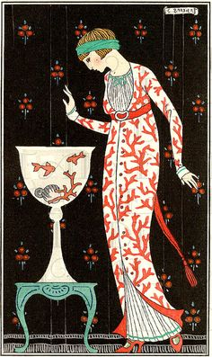 Fashion art deco illustration by George Barbier Art Deco Illustration, Art Vintage, Vintage Posters, Vintage Country, Vintage Prints, Moda Art Deco, Coral Design, Mode Costume, Art Deco Stil