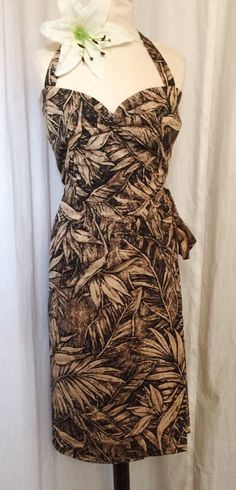 Vintage 1950s inspired black brown leaf print Hawaiian sarong halter wiggle dress M and XL only larger size VLV rockabilly Viva by OuterLimitz on Etsy