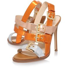 Howrude Nine West Orange ($140) ❤ liked on Polyvore featuring shoes, sandals, stilettos shoes, orange sandals, synthetic shoes, stiletto high heel shoes and orange shoes
