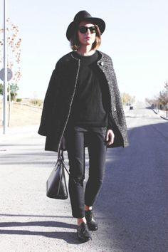 Isabel Marant Etoile coat, Topshop trousers, Churchs brogues and Louis Vuitton bag Black Oxfords, Brogues, Touch Of Gray, Cold Weather Outfits, Louis Vuitton, Vuitton Bag, Vogue Fashion, Famous Brands