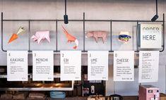 Origami inspired menu icons for UME Burger's newest restaurant in collaboration with Amber Road Design. Menu Board Design, Cafe Menu Design, Signage Design, Price Signage, Menu Signage, Menu Restaurant, Restaurant Design, Display Design, Store Design