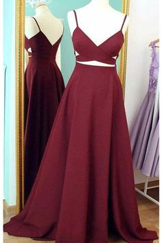 Wine chiffon V-neck A-line simple cheap long prom dresses for teens with straps