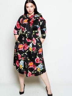 Providence Fit & Flare Plus Size Dress with Bow Tie