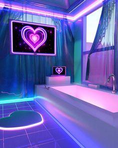 Strange Nostalgia for the Future: Photo Neon Bedroom, Room Ideas Bedroom, Bedroom Decor, Neon Aesthetic, Aesthetic Bedroom, Awesome Bedrooms, Cool Rooms, Dream Rooms, Dream Bedroom