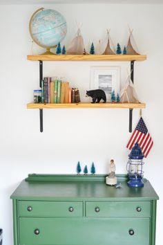 It is so fun to fill your toddler's room with decor and toys that show off his little personality!The small accessories around the room can be inspiration for an outdoor-enthused toddler!