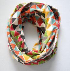 Color Pop Triangular Organic Cotton Infinity #Scarf // BOHO Jersey Cotton Knit Cowl // Original Design // By @Cristin Harrell Rae