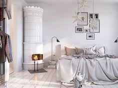 White Scandinavian bedroom (3D) by Sachin Mahajan