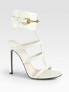 #Gucci Ursula Patent Leather Horsebit Ankle Strap Sandals #Trend White