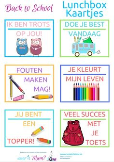 Back to school: Lunchbox kaartjes. Bento Box Lunch For Kids, Coaching, Lunch Box Notes, School Lunch, Kids And Parenting, Free Printables, Back To School, Activities For Kids, Homeschool