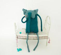 Hugo the blue elephant plush toy for kids by Skripskrap on Etsy, €30.00