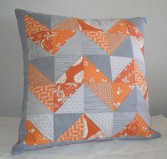 A Trio Beautiful: Gray and Orange Patchwork Zig-Zag Pillow