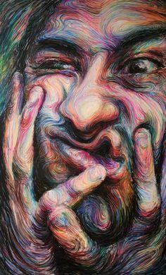 Nikos Gyftakis criou incríveis pinturas psicodélicas que retratam rostos através de linhas, curvas coloridas vibrantes e movimentos circulares. Conheça!