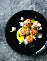 Seared Scallops with Corn Puree & Currant Vinaigrette  From 'The Next Element,' by Andy Allen, Winner of MasterChef Australia 2012 (published by New Holland Australia)  Reposted from Beattie's Book Blog New Zealand