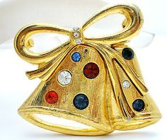Vintage Christmas Bell Rhinestone Brooch Holiday Pin