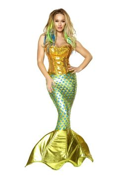 75c24c4d93f Gold Turquoise 2pc Siren of the Sea Costume   Amiclubwear costume Online  Store