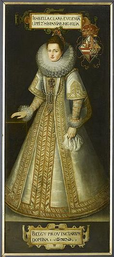 Pourbus, Frans the Younger (1569-1622)  (workshop of): Isabella Clara Eugenia (1566-1633), Infanta of Spain, daughter of King Philip II. Before 1605