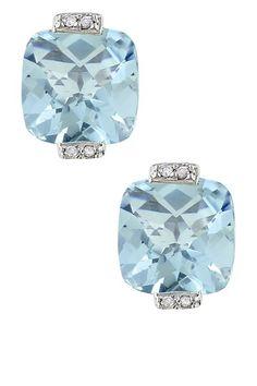 10K White Gold Pave Diamond Sky Blue Topaz Cushion Earrings