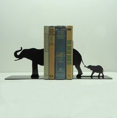 Elephant Family Metal Art Bookends