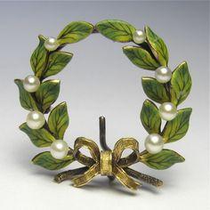 Antique Edwardian 18K Gold Enamel Laurel Leaves, Pearl & Ribbon Wreath Watch Pin/Brooch from Laura's lifeintheknife at rubylane.com