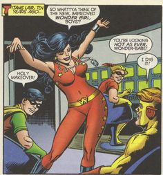 """thoughtsaboutdickgrayson:  From The Titans #25 (March 2001) """"Holy Makeover!"""" I do prefer this costume to Donna's earlier Wonder Girl get-up."""
