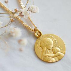 14k Poli Et Satiné St GABRIEL Médaille Pendentif Nouveau religieux charme or jaune