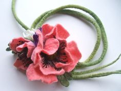Romantic handmade flowers necklace  -Felted necklace - Can be a belt - felt necklace- floral accessories - Pink poppy necklace by jurooma on Etsy