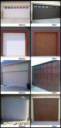 faux wood painting on garage doorrs