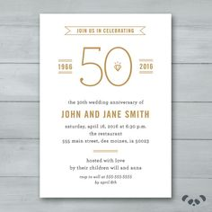 Free PDF Template Golden Wedding Anniversary Invitation Template - 50th wedding anniversary invitations templates