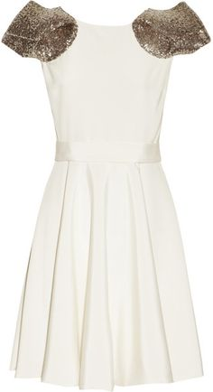 Notte By Marchesa, Sequinembellished Silk Dress in Gold (ivory)