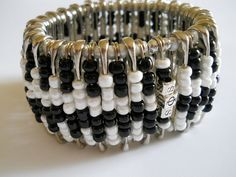 Safety Pin Beaded Bangle BlackWhite by BeadbetweentheLions on Etsy, $25.00
