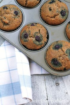 Warm gluten-free blueberry muffins. This new recipe features hazelnut flour, and coconut flour.