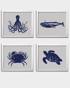 Nautical Nursery Navy Grey boy Beach Ocean Sea more colors available set of 4 on Etsy, $48.00